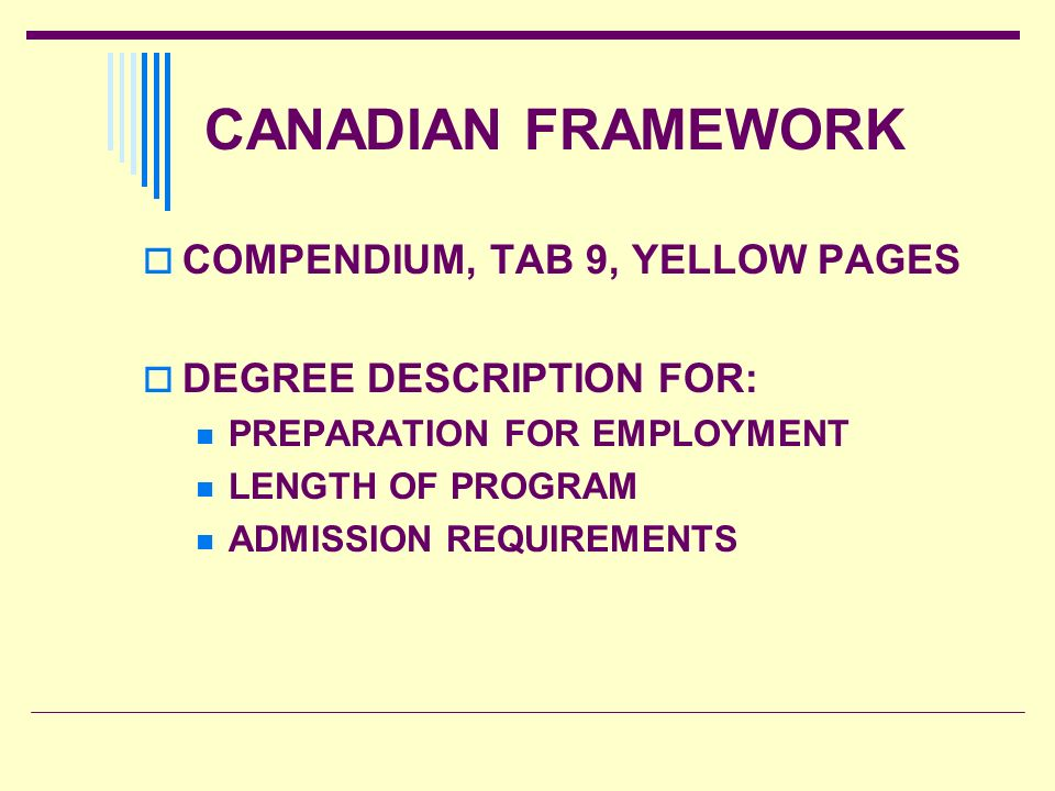 CANADIAN FRAMEWORK COMPENDIUM, TAB 9, YELLOW PAGES DEGREE DESCRIPTION FOR: PREPARATION FOR EMPLOYMENT LENGTH OF PROGRAM ADMISSION REQUIREMENTS