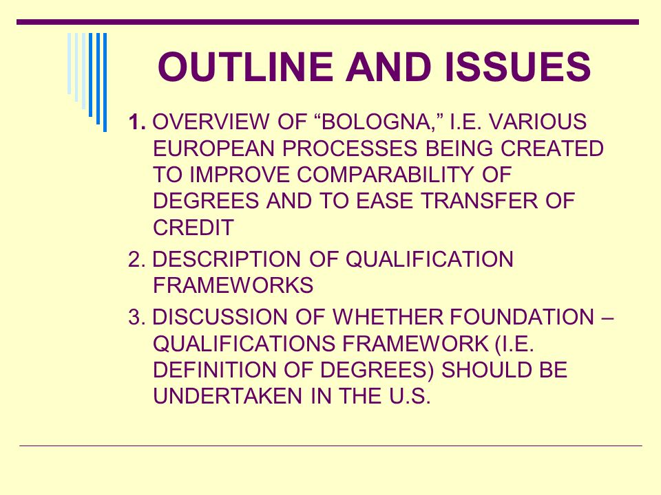 OUTLINE AND ISSUES 1. OVERVIEW OF BOLOGNA, I.E. VARIOUS EUROPEAN PROCESSES BEING CREATED TO IMPROVE COMPARABILITY OF DEGREES AND TO EASE TRANSFER OF C