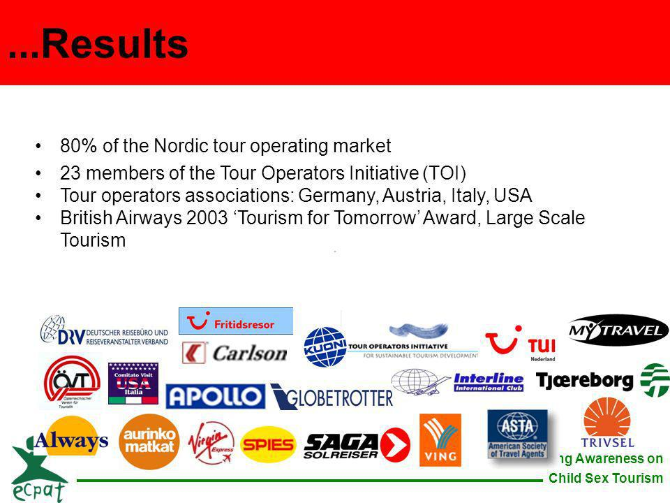 Raising Awareness on Child Sex Tourism 80% of the Nordic tour operating market 23 members of the Tour Operators Initiative (TOI) Tour operators associ