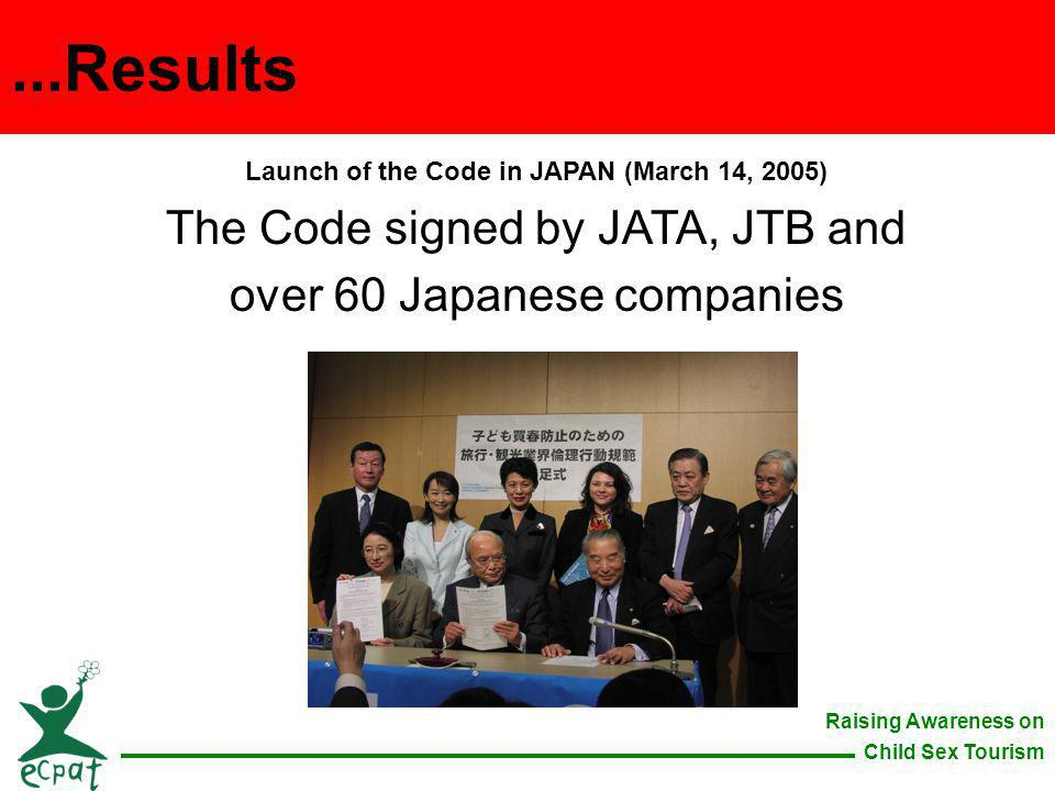 Raising Awareness on Child Sex Tourism Launch of the Code in JAPAN (March 14, 2005) The Code signed by JATA, JTB and over 60 Japanese companies...Resu