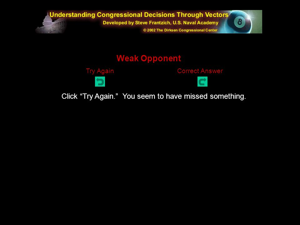 Click Try Again. You seem to have missed something. Abstention Try AgainCorrect Answer