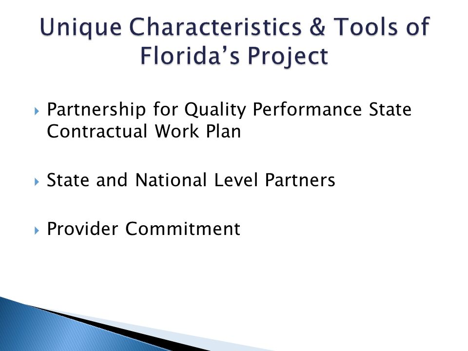 Partnership for Quality Performance State Contractual Work Plan State and National Level Partners Provider Commitment