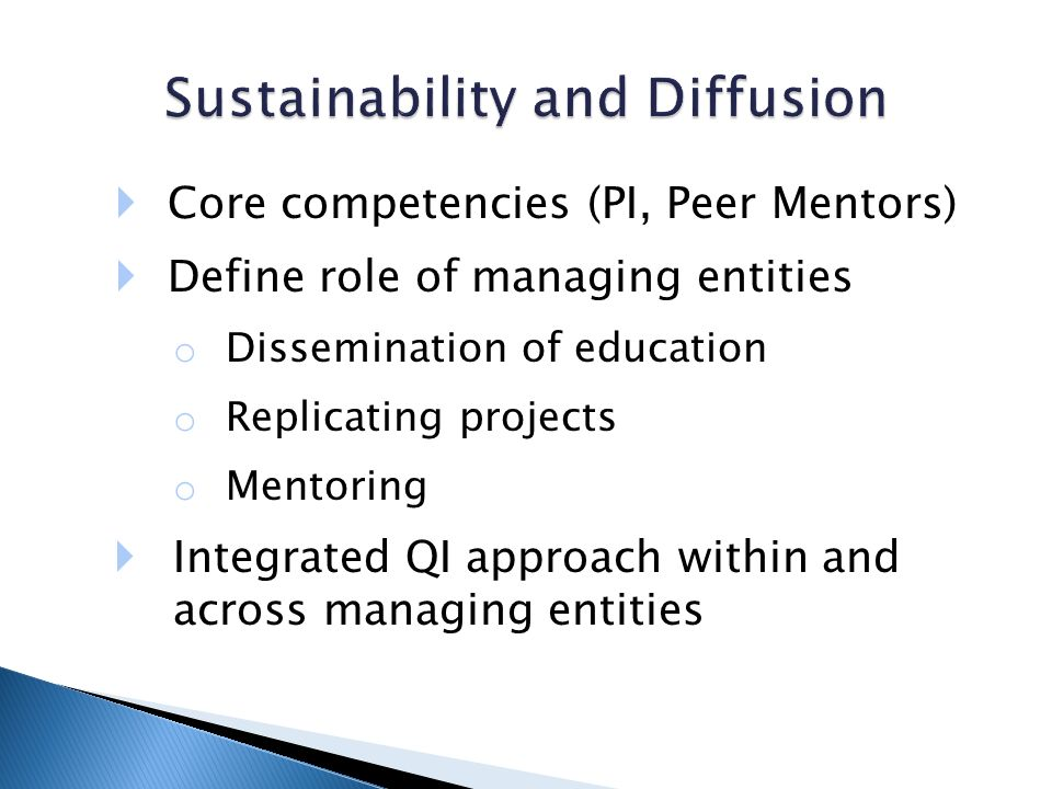 Core competencies (PI, Peer Mentors) Define role of managing entities o Dissemination of education o Replicating projects o Mentoring Integrated QI approach within and across managing entities