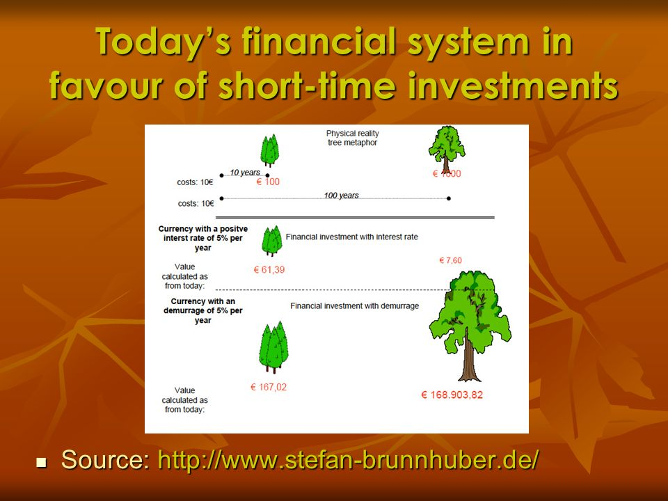 Todays financial system in favour of short-time investments Source: http://www.stefan-brunnhuber.de/ Source: http://www.stefan-brunnhuber.de/