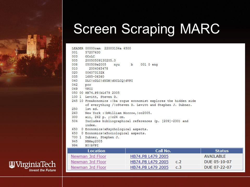 Screen Scraping MARC