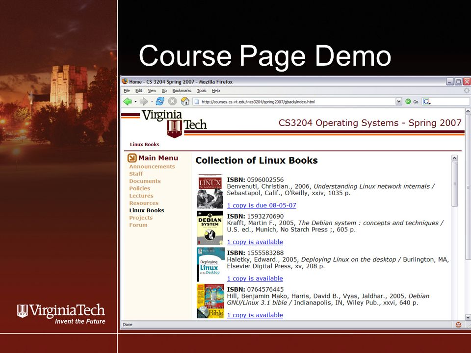 Course Page Demo Screen Shot