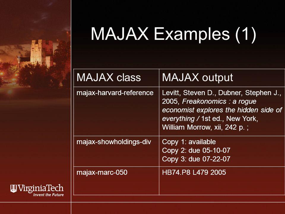 MAJAX Examples (1) MAJAX classMAJAX output majax-harvard-referenceLevitt, Steven D., Dubner, Stephen J., 2005, Freakonomics : a rogue economist explores the hidden side of everything / 1st ed., New York, William Morrow, xii, 242 p.