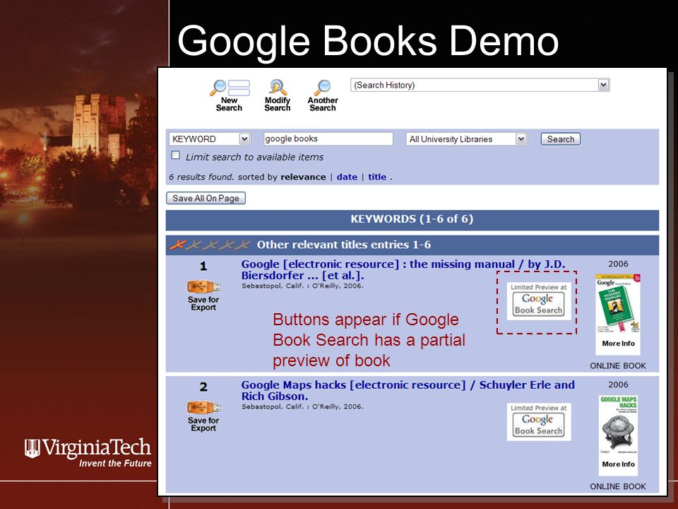 Google Books Demo Buttons appear if Google Book Search has a partial preview of book