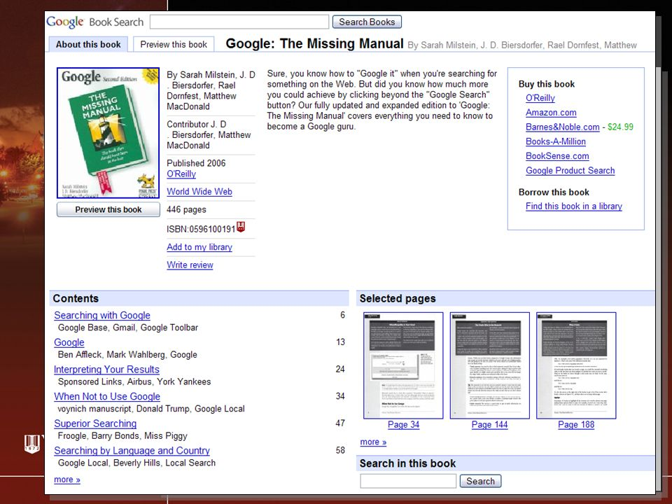 Google Books Demo (2) Buttons appears if Google has a partial preview of book