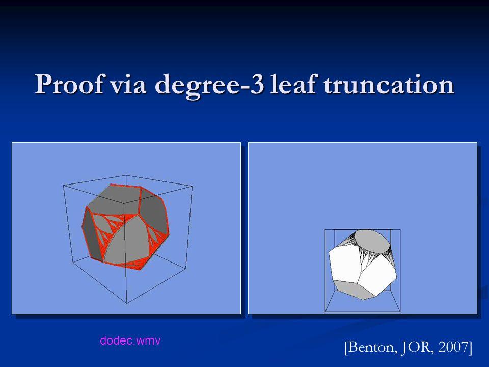 Proof via degree-3 leaf truncation [Benton, JOR, 2007] dodec.wmv