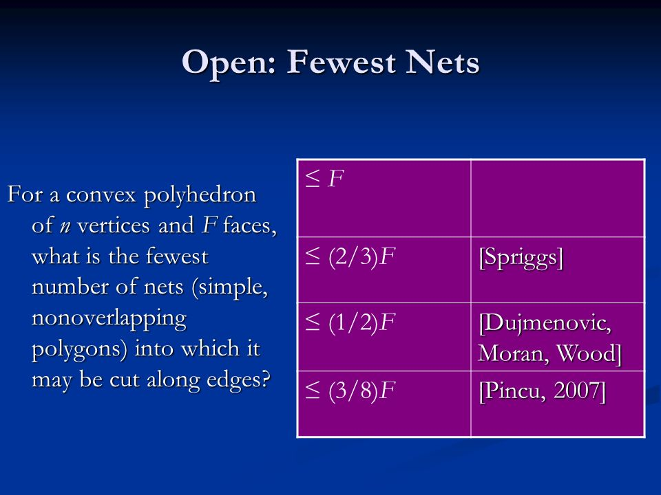 Open: Fewest Nets For a convex polyhedron of n vertices and F faces, what is the fewest number of nets (simple, nonoverlapping polygons) into which it
