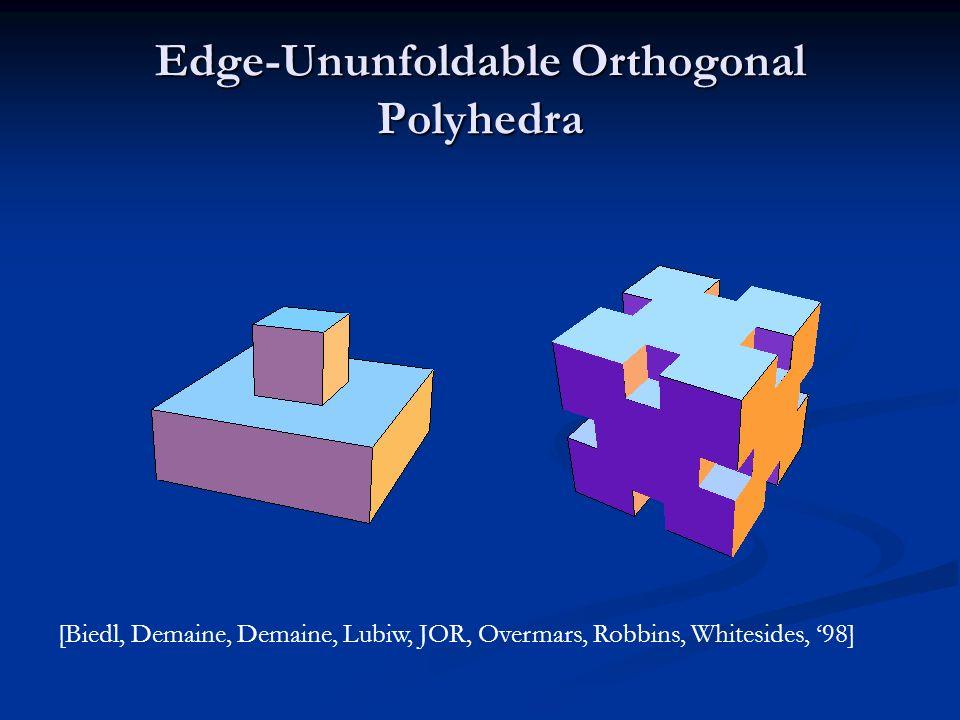 Edge-Ununfoldable Orthogonal Polyhedra [Biedl, Demaine, Demaine, Lubiw, JOR, Overmars, Robbins, Whitesides, 98]