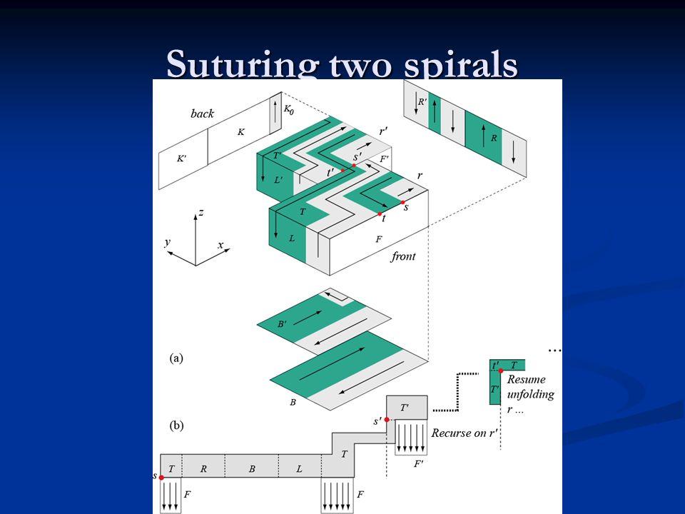 Suturing two spirals