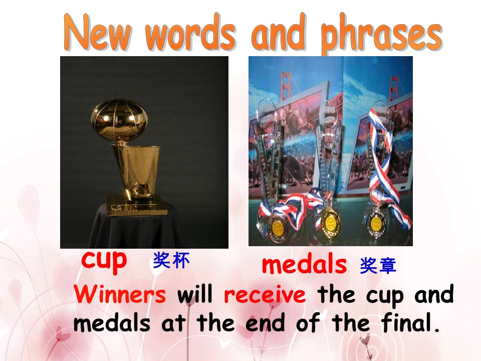 5.The winners receive the cup and medals at the end of the final.