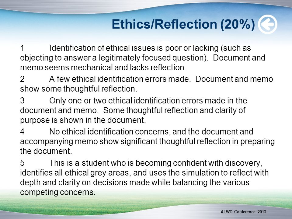 Ethics/Reflection (20%) 1Identification of ethical issues is poor or lacking (such as objecting to answer a legitimately focused question). Document a