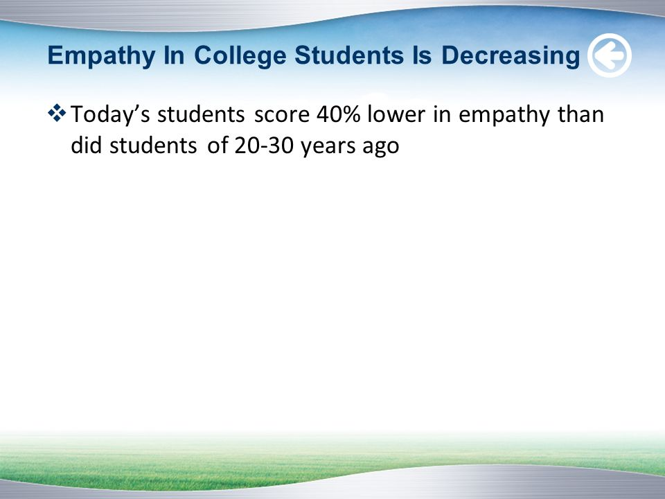 Empathy In College Students Is Decreasing Todays students score 40% lower in empathy than did students of 20-30 years ago