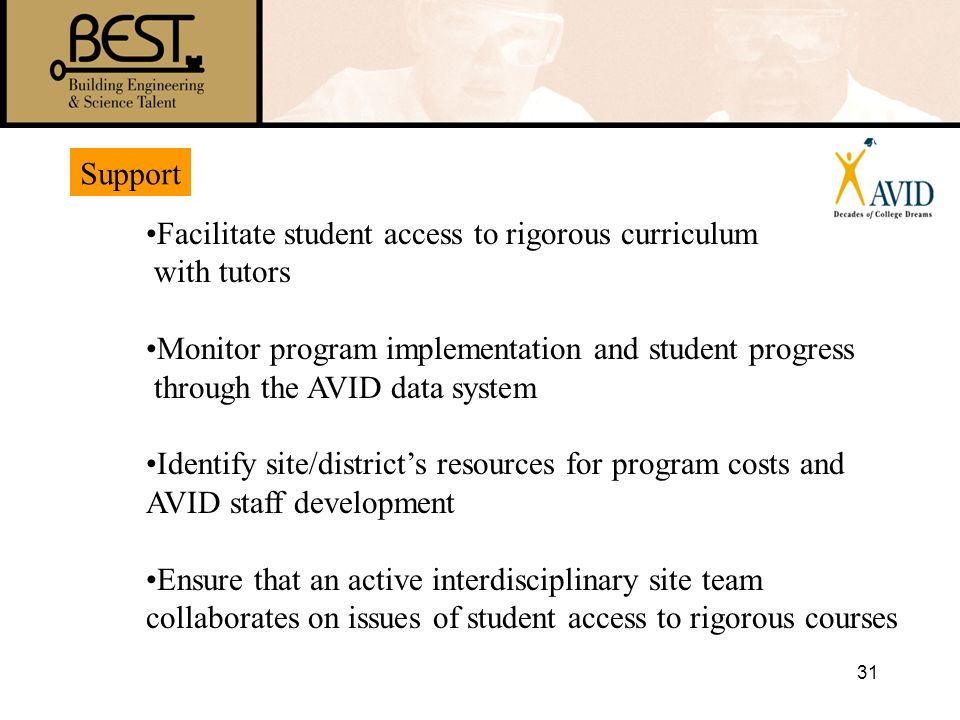 31 Support Facilitate student access to rigorous curriculum with tutors Monitor program implementation and student progress through the AVID data syst