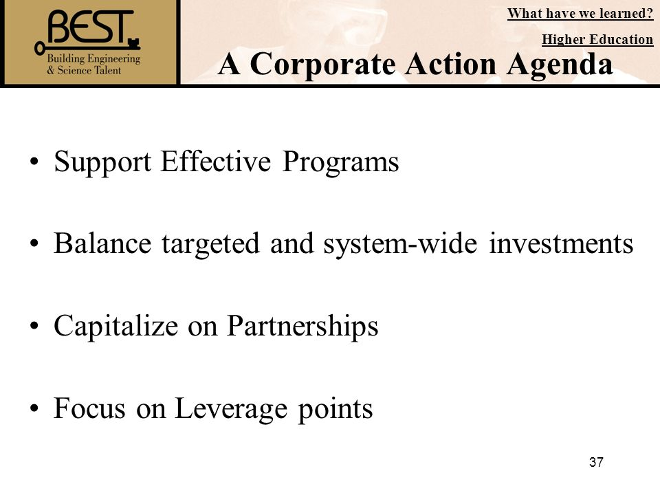 37 A Corporate Action Agenda Support Effective Programs Balance targeted and system-wide investments Capitalize on Partnerships Focus on Leverage poin