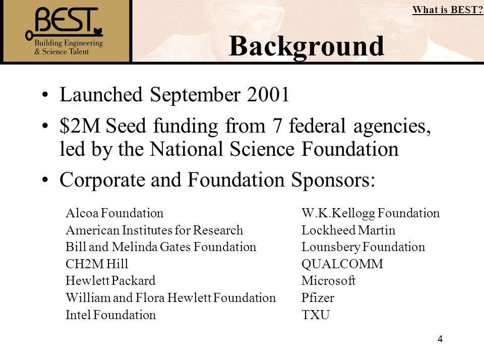 4 Background Launched September 2001 $2M Seed funding from 7 federal agencies, led by the National Science Foundation Corporate and Foundation Sponsor