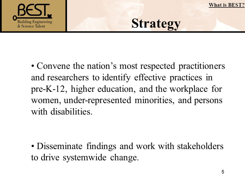 5 Strategy What is BEST? Convene the nations most respected practitioners and researchers to identify effective practices in pre-K-12, higher educatio