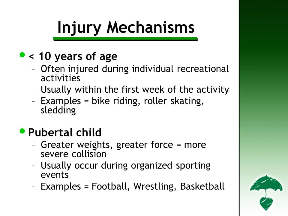 Injury Mechanisms < 10 years of age –Often injured during individual recreational activities –Usually within the first week of the activity –Examples