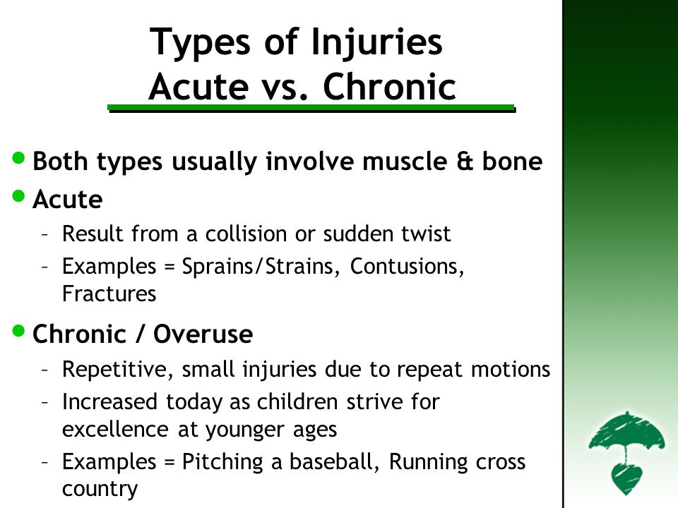 Types of Injuries Acute vs. Chronic Both types usually involve muscle & bone Acute –Result from a collision or sudden twist –Examples = Sprains/Strain