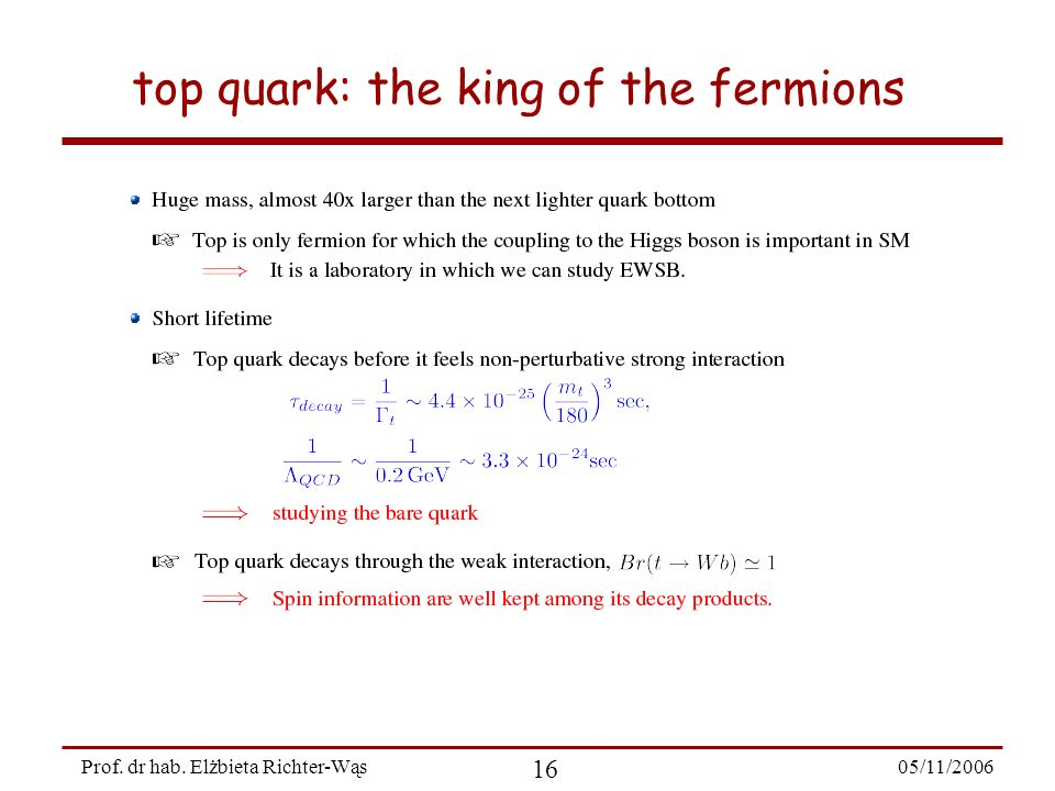 05/11/ Prof. dr hab. Elżbieta Richter-Wąs top quark: the king of the fermions