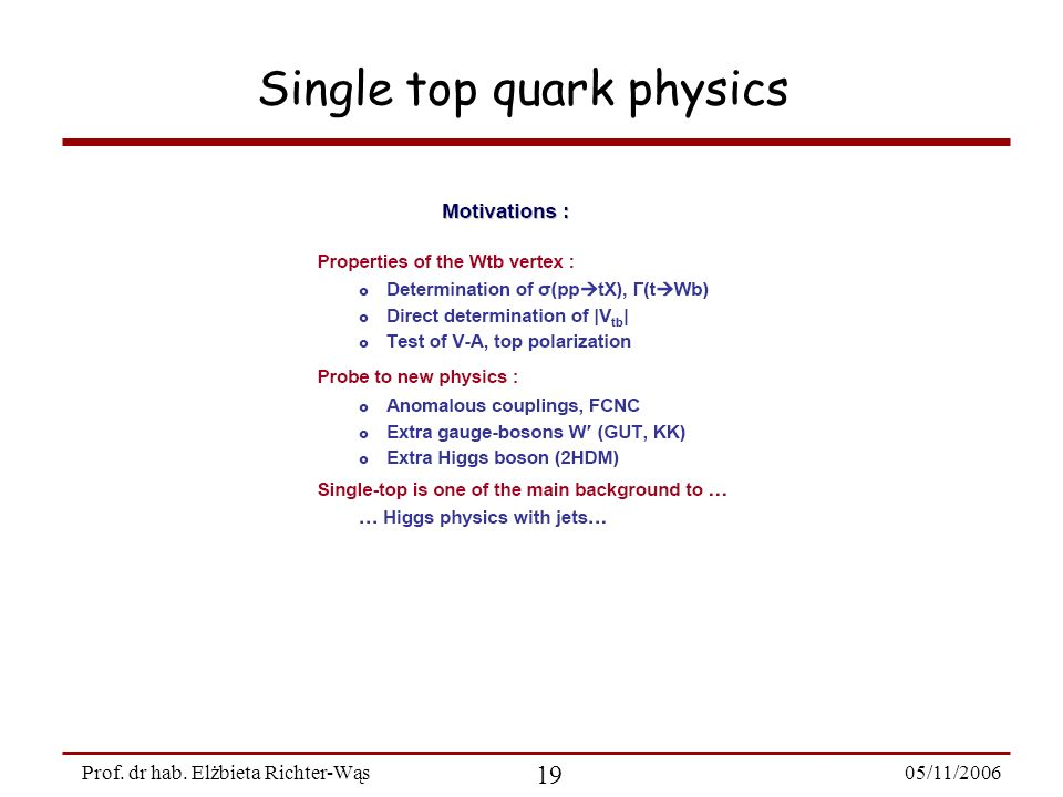 05/11/2006 19 Prof. dr hab. Elżbieta Richter-Wąs Single top quark physics