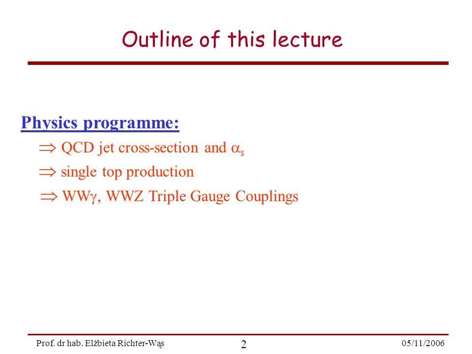 05/11/2006 23 Prof. dr hab. Elżbieta Richter-Wąs top quark: single top production