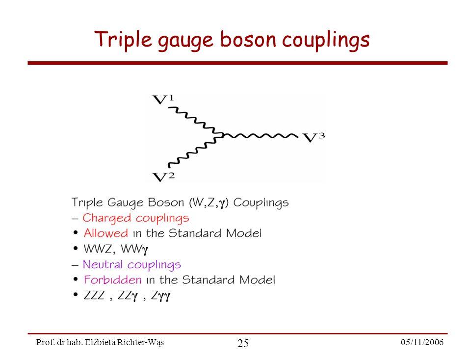 05/11/2006 25 Prof. dr hab. Elżbieta Richter-Wąs Triple gauge boson couplings