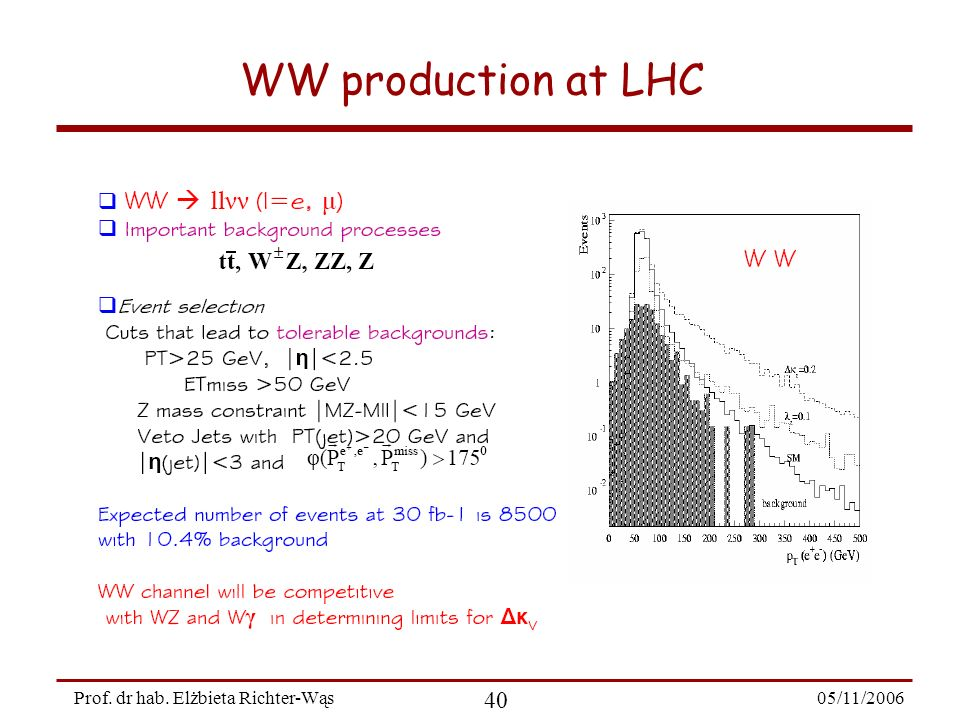 05/11/2006 40 Prof. dr hab. Elżbieta Richter-Wąs WW production at LHC