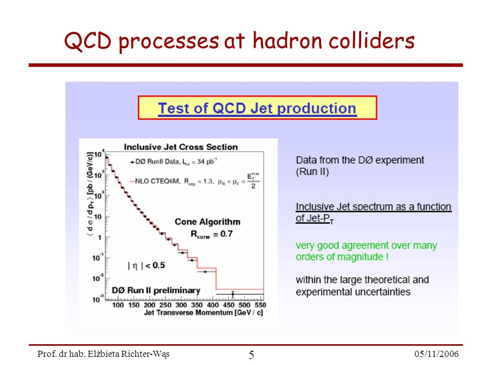 05/11/2006 5 Prof. dr hab. Elżbieta Richter-Wąs QCD processes at hadron colliders