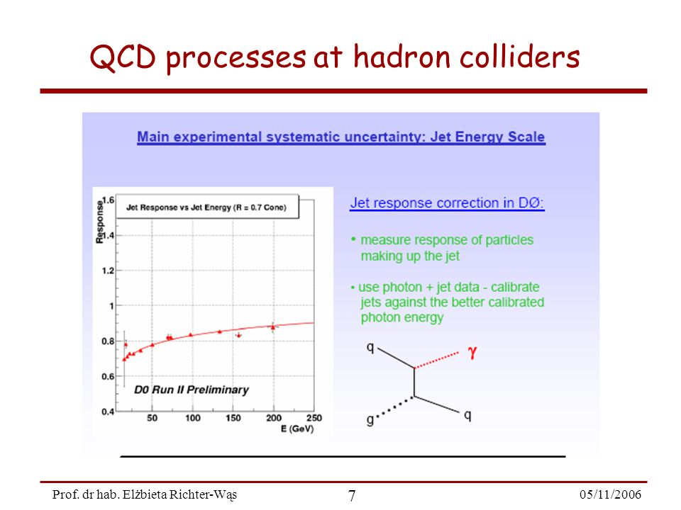 05/11/2006 8 Prof. dr hab. Elżbieta Richter-Wąs QCD processes at hadron colliders