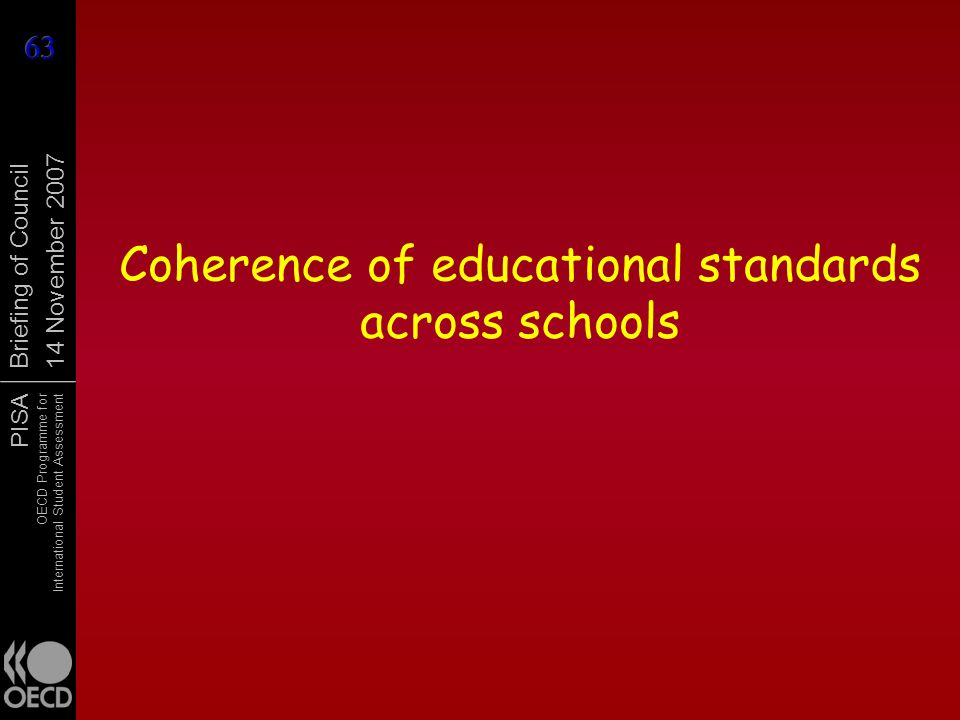 PISA OECD Programme for International Student Assessment Briefing of Council 14 November 2007 Coherence of educational standards across schools