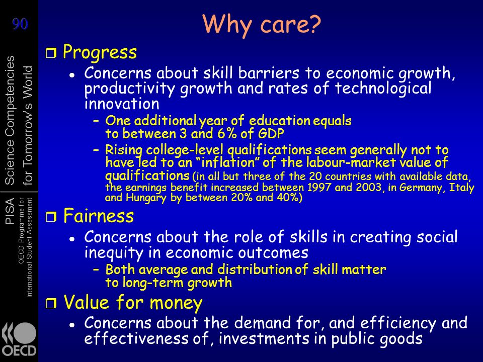 PISA OECD Programme for International Student Assessment Science Competencies for Tomorrows World Why care? r Progress Concerns about skill barriers t