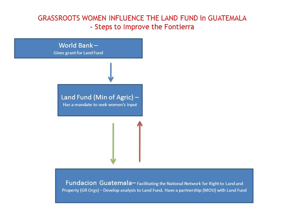 World Bank – Gives grant for Land Fund Land Fund (Min of Agric) – Has a mandate to seek womens input Fundacion Guatemala– Facilitating the National Network for Right to Land and Property (GR Orgs) – Develop analysis to Land Fund, Have a partnership (MOU) with Land Fund