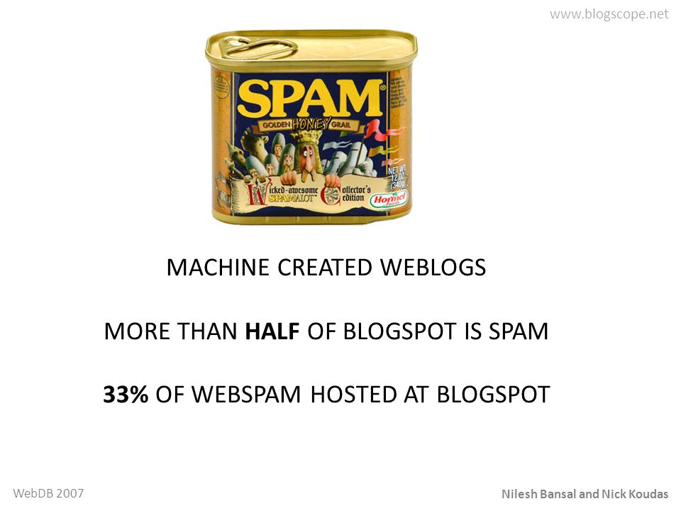 Nilesh Bansal and Nick Koudas WebDB 2007 MACHINE CREATED WEBLOGS MORE THAN HALF OF BLOGSPOT IS SPAM 33% OF WEBSPAM HOSTED AT BLOGSPOT
