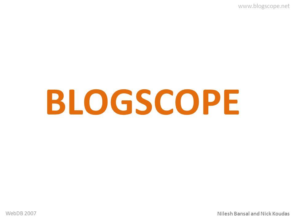 Nilesh Bansal and Nick Koudas WebDB 2007 BLOGSCOPE