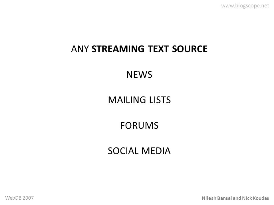 Nilesh Bansal and Nick Koudas WebDB 2007 ANY STREAMING TEXT SOURCE NEWS MAILING LISTS FORUMS SOCIAL MEDIA