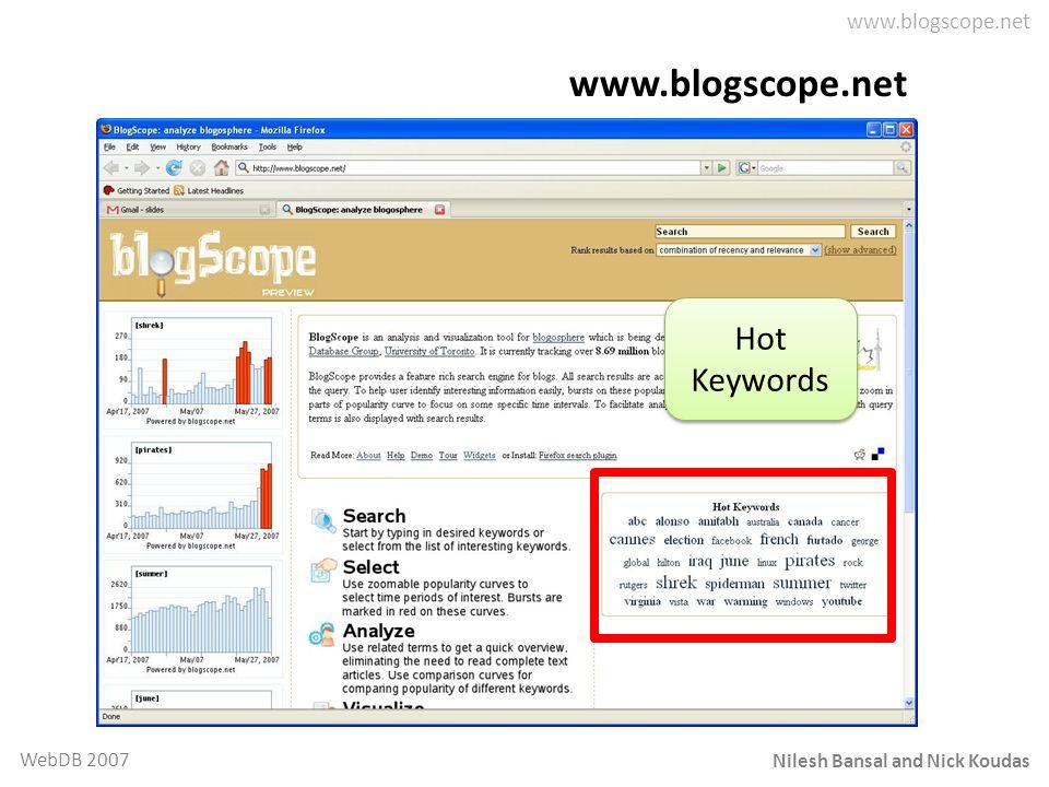 Nilesh Bansal and Nick Koudas WebDB 2007 www.blogscope.net Hot Keywords Hot Keywords