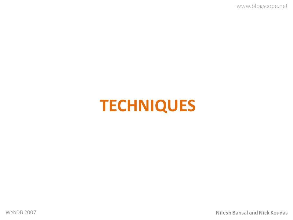Nilesh Bansal and Nick Koudas WebDB 2007 TECHNIQUES