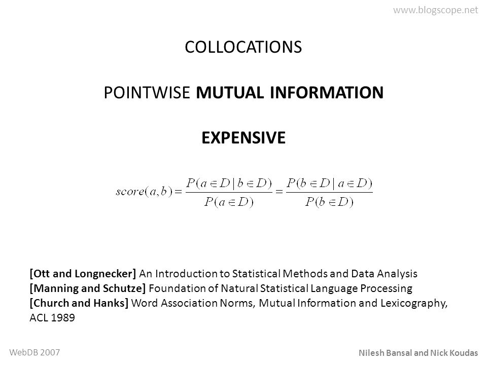 Nilesh Bansal and Nick Koudas WebDB 2007 COLLOCATIONS POINTWISE MUTUAL INFORMATION EXPENSIVE [Ott and Longnecker] An Introduction to Statistical Metho