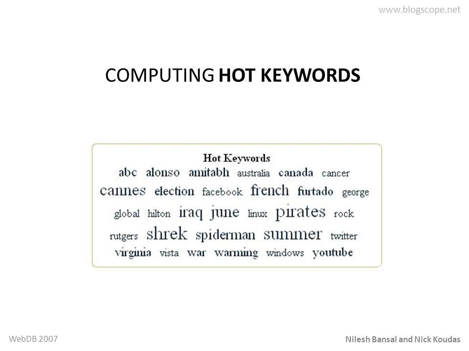 Nilesh Bansal and Nick Koudas WebDB 2007 COMPUTING HOT KEYWORDS