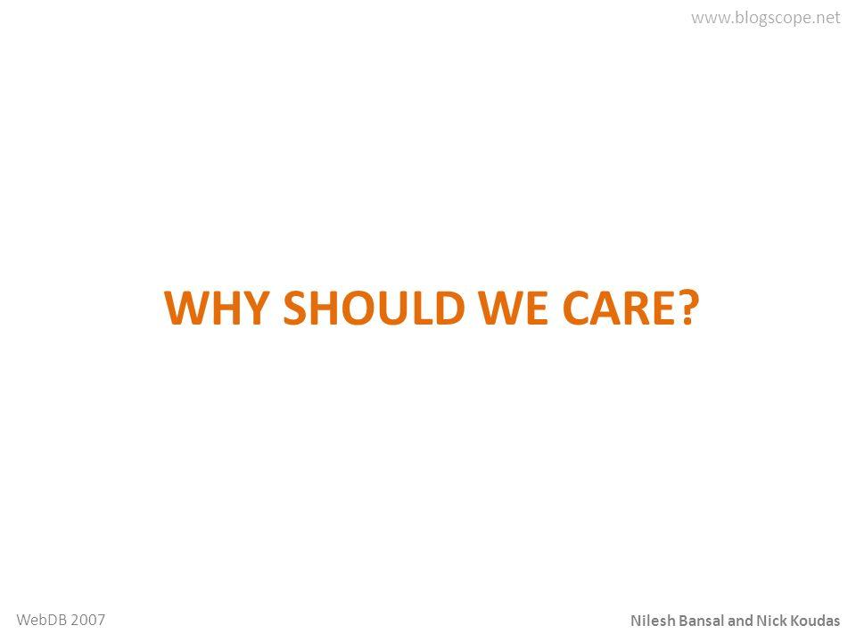 Nilesh Bansal and Nick Koudas WebDB 2007 WHY SHOULD WE CARE?