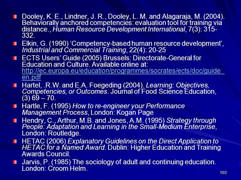 103 Dooley, K. E., Lindner, J. R., Dooley, L. M. and Alagaraja, M. (2004). Behaviorally anchored competencies: evaluation tool for training via distan