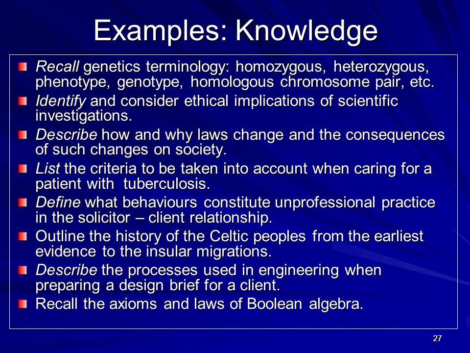2727 Examples: Knowledge Recall genetics terminology: homozygous, heterozygous, phenotype, genotype, homologous chromosome pair, etc. Identify and con