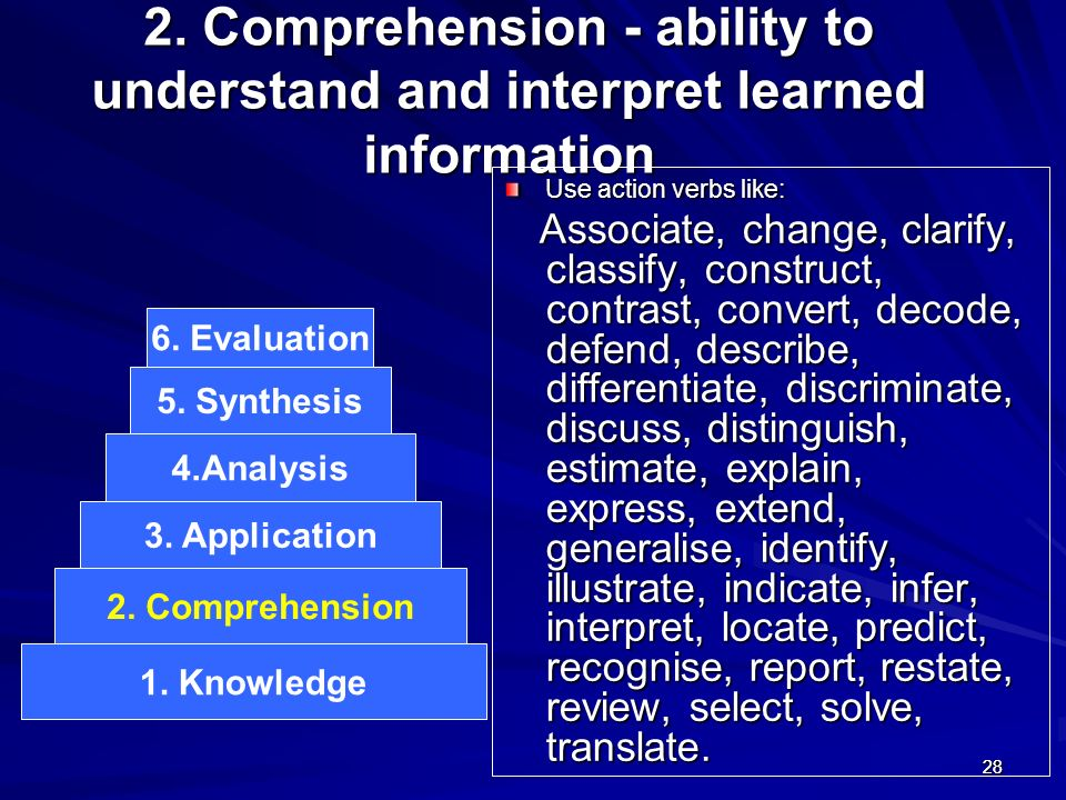2828 2. Comprehension - ability to understand and interpret learned information Use action verbs like: Associate, change, clarify, classify, construct