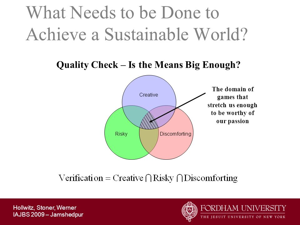 Hollwitz, Stoner, Werner IAJBS 2009 – Jamshedpur What Needs to be Done to Achieve a Sustainable World? Quality Check – Is the Means Big Enough? Creati