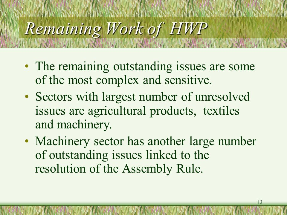 13 Remaining Work of HWP The remaining outstanding issues are some of the most complex and sensitive. Sectors with largest number of unresolved issues