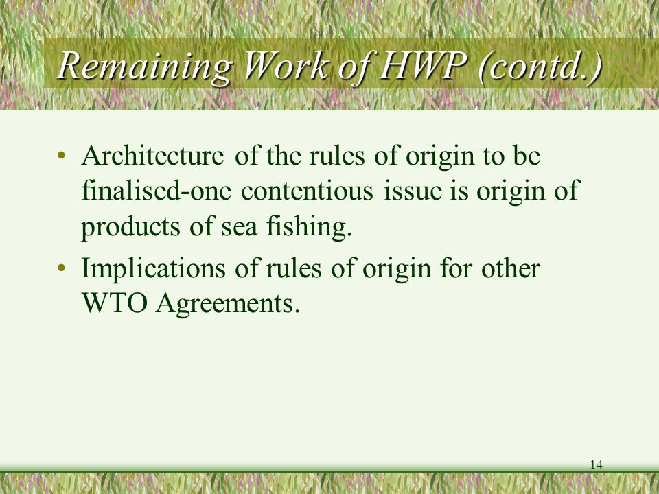 14 Remaining Work of HWP (contd.) Architecture of the rules of origin to be finalised-one contentious issue is origin of products of sea fishing. Impl